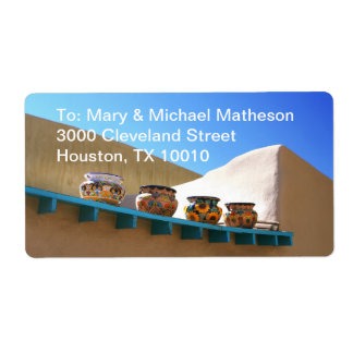 Pottery on Adobe Wall Personalized Shipping Labels