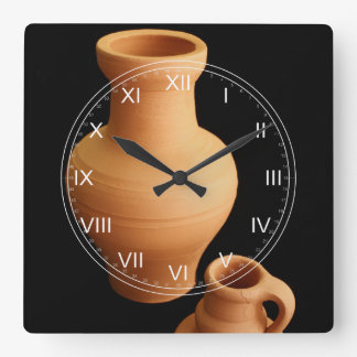 Pottery on black background square wall clock