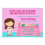 Pottery Painting Arts and Crafts Birthday Party 5x7 Paper Invitation Card