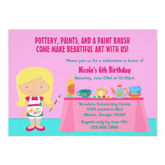 Pottery Painting Arts and Crafts Birthday Party Card