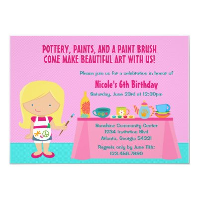Paint Your Own Pottery Birthday Party Invitation – Pottery Painting Party Invitations