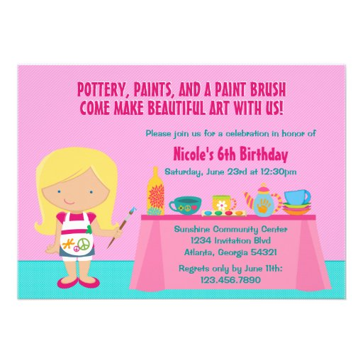 Pottery Painting Arts and Crafts Birthday Party Personalized Announcements