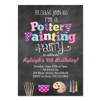 Art Painting Birthday Party Invitations – Pottery Painting Party Invitations