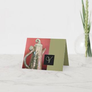 Pottery Tea Pot Note Card w/Monogram
