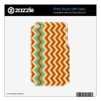 Pottery Zigzags With Sage Green Border Decals For iPod Touch 4G