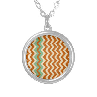 Pottery Zigzags With Sage Green Border Silver Plated Necklace
