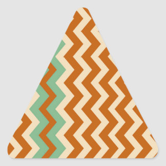 Pottery Zigzags With Sage Green Border Triangle Sticker