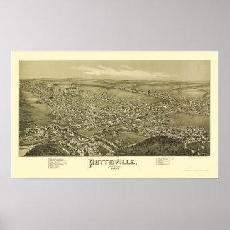 Pottsville, mapa panorámico del PA - 1889 Poster