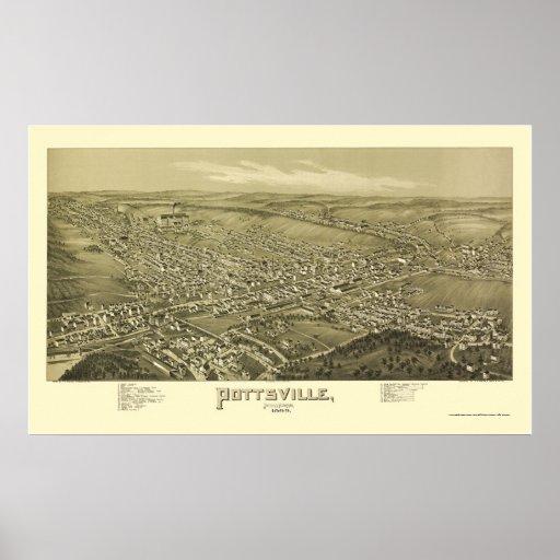 Pottsville, mapa panorámico del PA - 1889 Póster