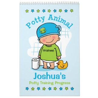Potty Animal Boy Potty Training Progress Book Calendar