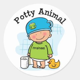Potty Animal Boy Sticker
