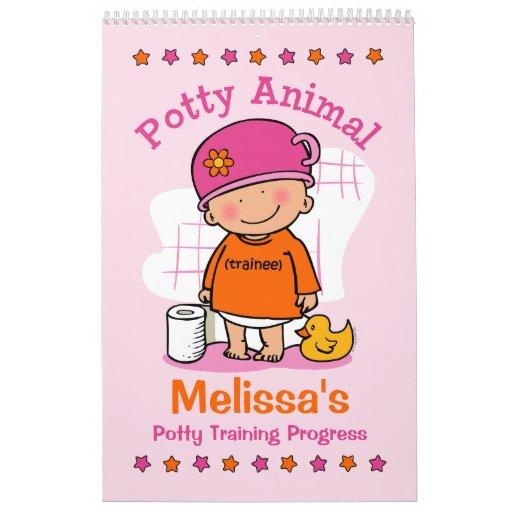 Potty Animal Girl Potty Training Progress Book Calendars