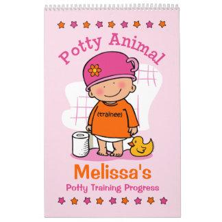 Potty Animal Girl Potty Training Progress Book Calendar