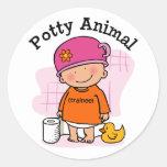 Potty Animal Girl Sticker