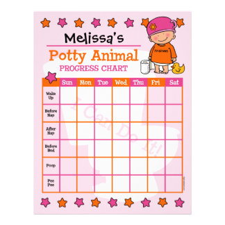Potty Animal Girl Training Chart Letterhead