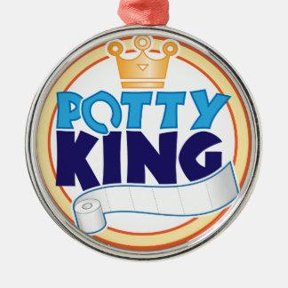 Potty King Round Metal Christmas Ornament