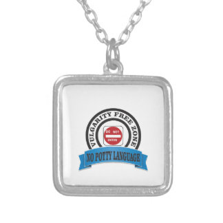 potty language do not enter silver plated necklace