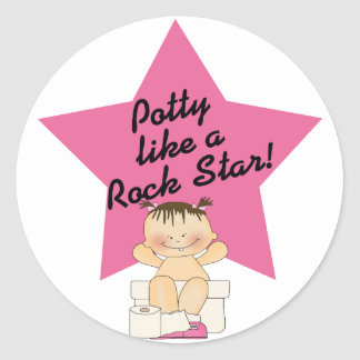 Potty Like A Rock Star Girl Classic Round Sticker