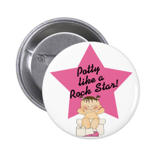 Potty Like A Rock Star Girl Pinback Button