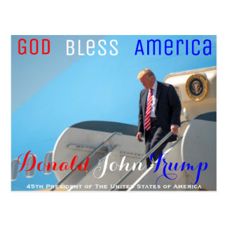 POTUS Donald Trump walks down from Air Force One Postcard