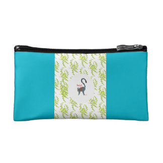 pouch with image of lemur makeup bag