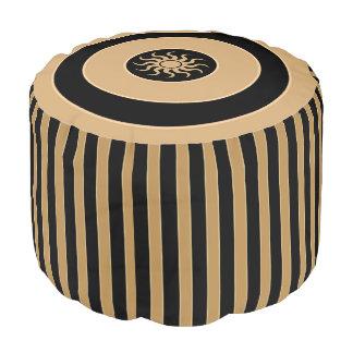 Pouf Seat - Golden Brown-Black Stripes - Sun