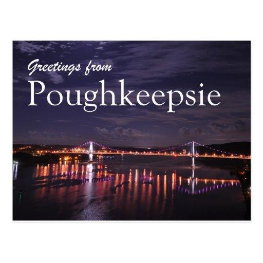 Poughkeepsie at night post card