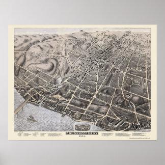 Poughkeepsie mapa panorámico de NY - 1874 Posters