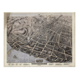 Poughkeepsie New York 1874 Antique Panoramic Map Poster