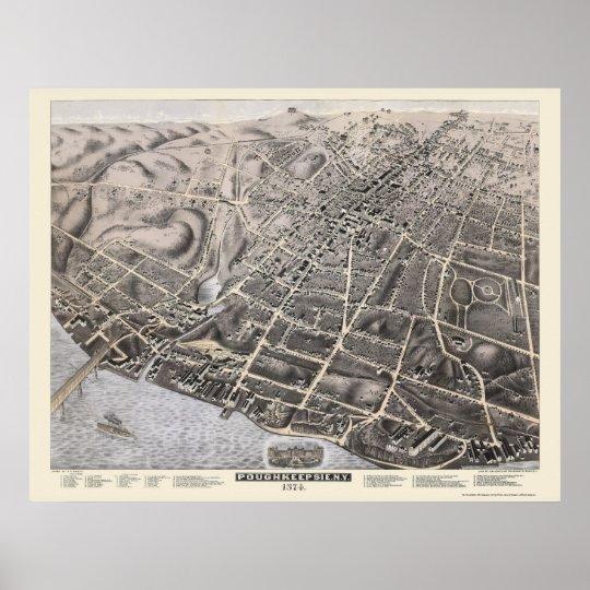 Poughkeepsie, NY Panoramic Map - 1874 Poster