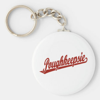 Poughkeepsie script logo in red basic round button keychain