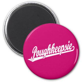 Poughkeepsie script logo in white magnet