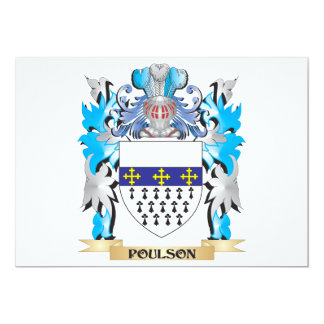 """Poulson Coat of Arms - Family Crest 5"""" X 7"""" Invitation Card"""