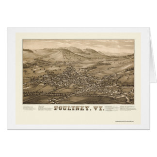 Poultney, VT Panoramic Map - 1886 Greeting Card
