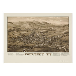 Poultney, VT Panoramic Map - 1886 Print