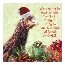 Poultry Farm Santa Chicken Christmas Party Invitation