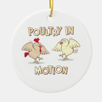 Poultry in Motion Double-Sided Ceramic Round Christmas Ornament