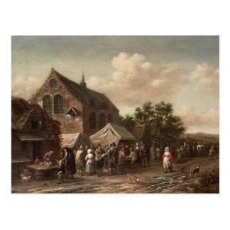 Poultry Market by a Church Postcard