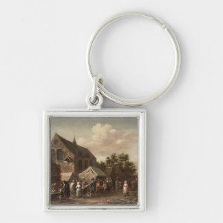 Poultry Market by a Church Silver-Colored Square Keychain