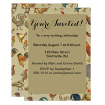 Poultry Rooster Chicken country vintage art Invitation