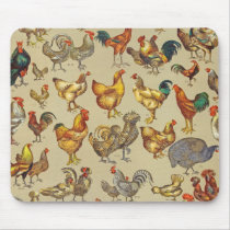 Poultry Rooster Chicken country vintage art Mouse Pad