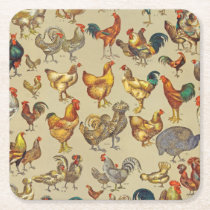 Poultry Rooster Chicken country vintage art Square Paper Coaster