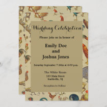 Poultry Rooster Chicken country wedding invitation