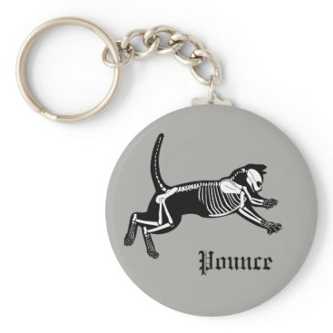 Halloween Themed Pouncing cat skeleton grey key chain