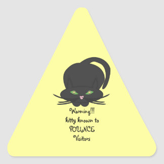 Pouncing Kitty Triangle Sticker