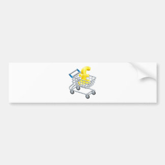 Pound currency shopping cart bumper stickers