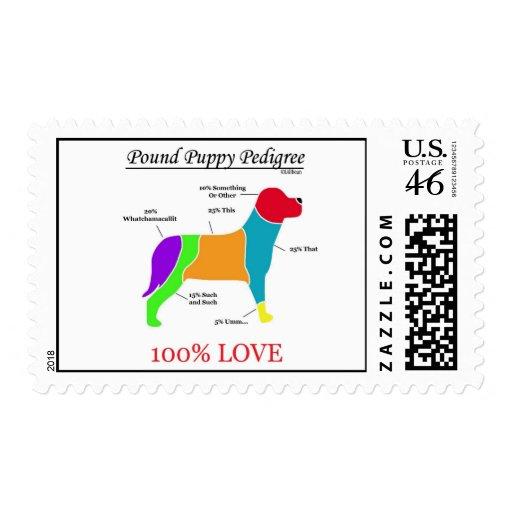 Pound Puppy Pedigree Postage Stamp
