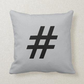 # Pound sign (hashtag) button pillow, Gray & Black