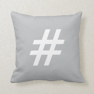 # Pound sign (hashtag) button pillow, Gray & White