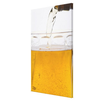 Pouring beer in glass mug, Extreme, Close-up Canvas Print
